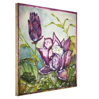 Purple Lotus Frog Watercolor Print Wrapped Canvas