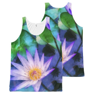 Purple Lotus Watercolor All-Over-Print Tank Top