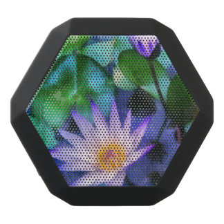 Purple Lotus Watercolor Black Bluetooth Speaker