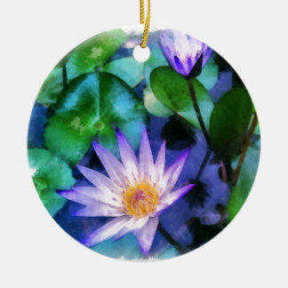 Purple Lotus Watercolor Ceramic Ornament