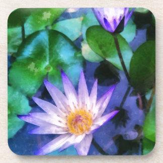 Purple Lotus Watercolor Coaster