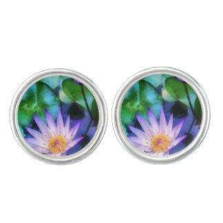 Purple Lotus Watercolor Cufflinks