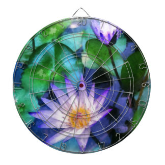 Purple Lotus Watercolor Dartboard