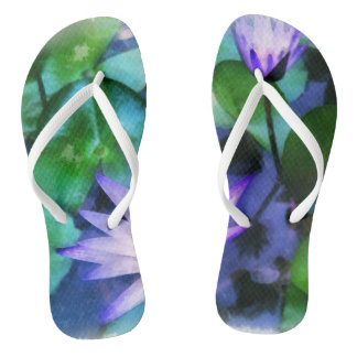 Purple Lotus Watercolor Flip Flops