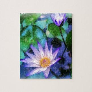 Purple Lotus Watercolor Jigsaw Puzzle