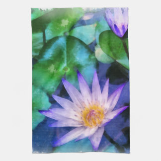 Purple Lotus Watercolor Kitchen Towel