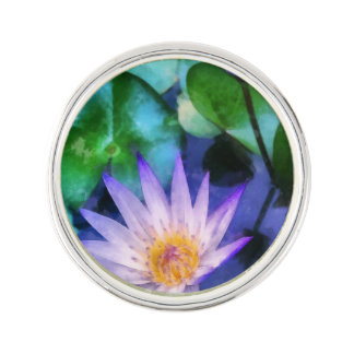 Purple Lotus Watercolor Lapel Pin