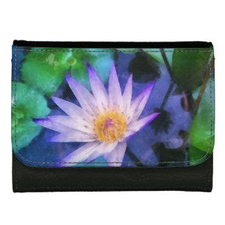 Purple Lotus Watercolor Leather Wallet