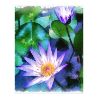 Purple Lotus Watercolor Letterhead