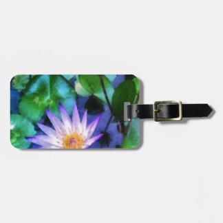 Purple Lotus Watercolor Luggage Tag
