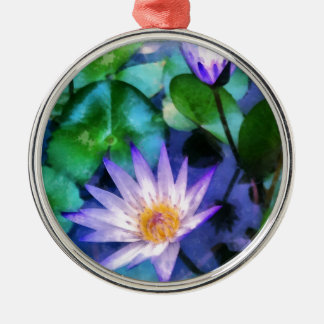 Purple Lotus Watercolor Metal Ornament