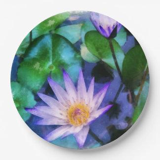 Purple Lotus Watercolor Paper Plate