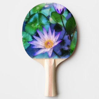 Purple Lotus Watercolor Ping Pong Paddle