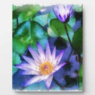 Purple Lotus Watercolor Plaque