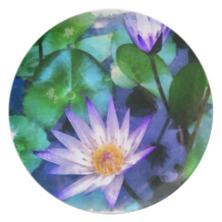 Purple Lotus Watercolor Plate