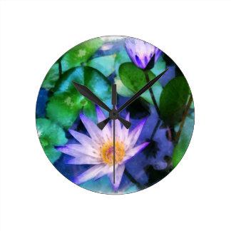 Purple Lotus Watercolor Round Clock