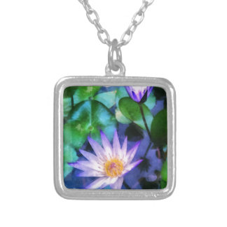 Purple Lotus Watercolor Silver Plated Necklace