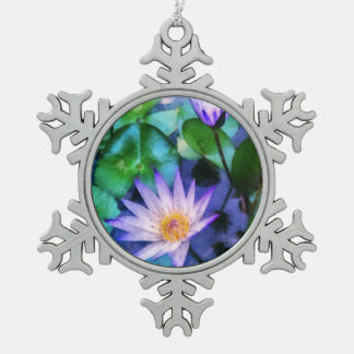 Purple Lotus Watercolor Snowflake Pewter Christmas Ornament
