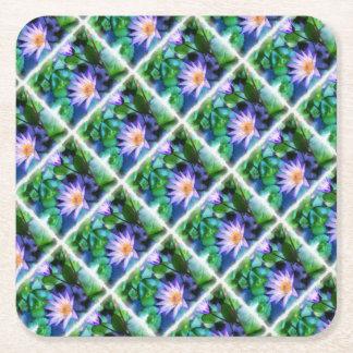 Purple Lotus Watercolor Square Paper Coaster