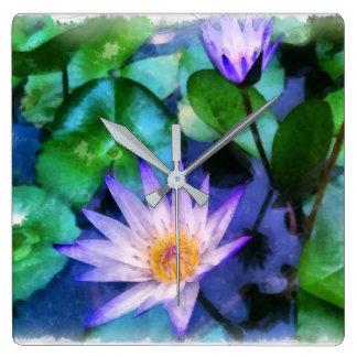 Purple Lotus Watercolor Square Wall Clock