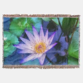 Purple Lotus Watercolor Throw Blanket