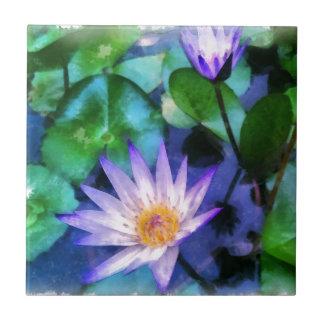 Purple Lotus Watercolor Tile