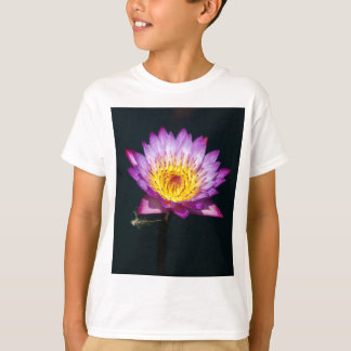 Purple Lotus Waterlily and Dragonfly Nymph T Shirt