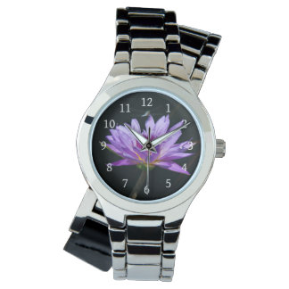 Purple Lotus Waterlily & Dragonfly Watch
