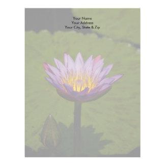 Purple Lotus Waterlily Flower Letterhead