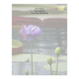 Purple Lotus Waterlily Flower Letterhead