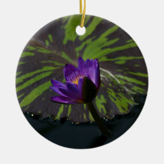 Purple Lotus Waterlily striped lily pads Ceramic Ornament
