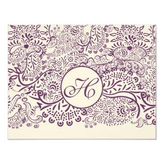 Purple Love Birds Damask Monogram Weddings RSVP Card