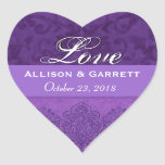 Purple Love Bride and Groom Date F200 Heart Stickers