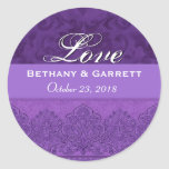 Purple Love Bride and Groom Date F202 Round Stickers