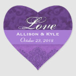 Purple Love Bride and Groom Date Heart Stickers