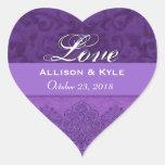 Purple Love Bride and Groom Date Stickers