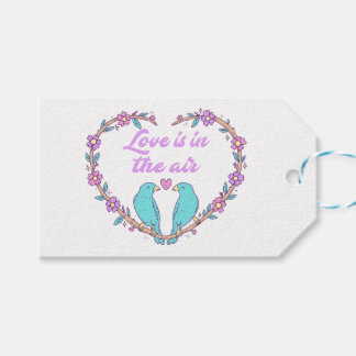 Purple Love Floral Heart Lovebirds Wedding Gift Tags