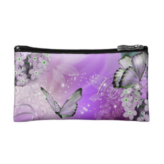 Purple Love Flowers & Butterflies Cosmetic Bag