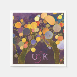 Purple Love Trees Monogram Wedding Disposable Napkins