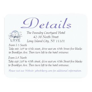 Purple Lovebirds Wedding Details / Direction Cards
