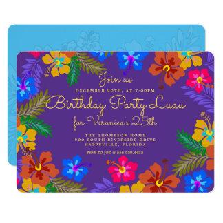 Purple Luau Birthday Party Invitation