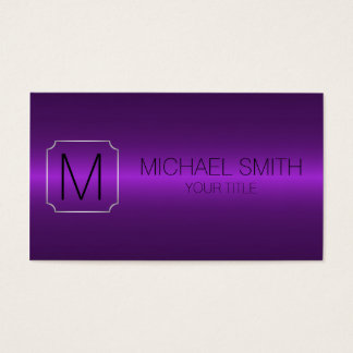 Purple Luxury Stainless Steel Metal Monogram Business Card