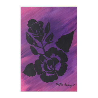 Purple Magenta Pink Silhouette Rose Acrylic Art