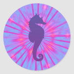 Purple Magic Sea Horse Round Sticker