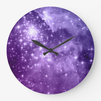 Purple Magic Stars Large Clock
