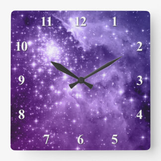 Purple Magic Stars Square Wall Clock