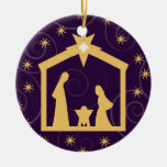 Purple Majesty Christmas Nativity Scene Round Ceramic Ornament