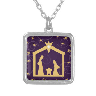 Purple Majesty Christmas Nativity Scene Silver Plated Necklace