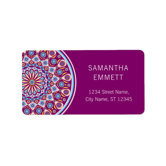 Purple Mandala Colourful Modern Address Labels