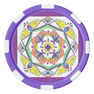 Purple mandala design poker chips